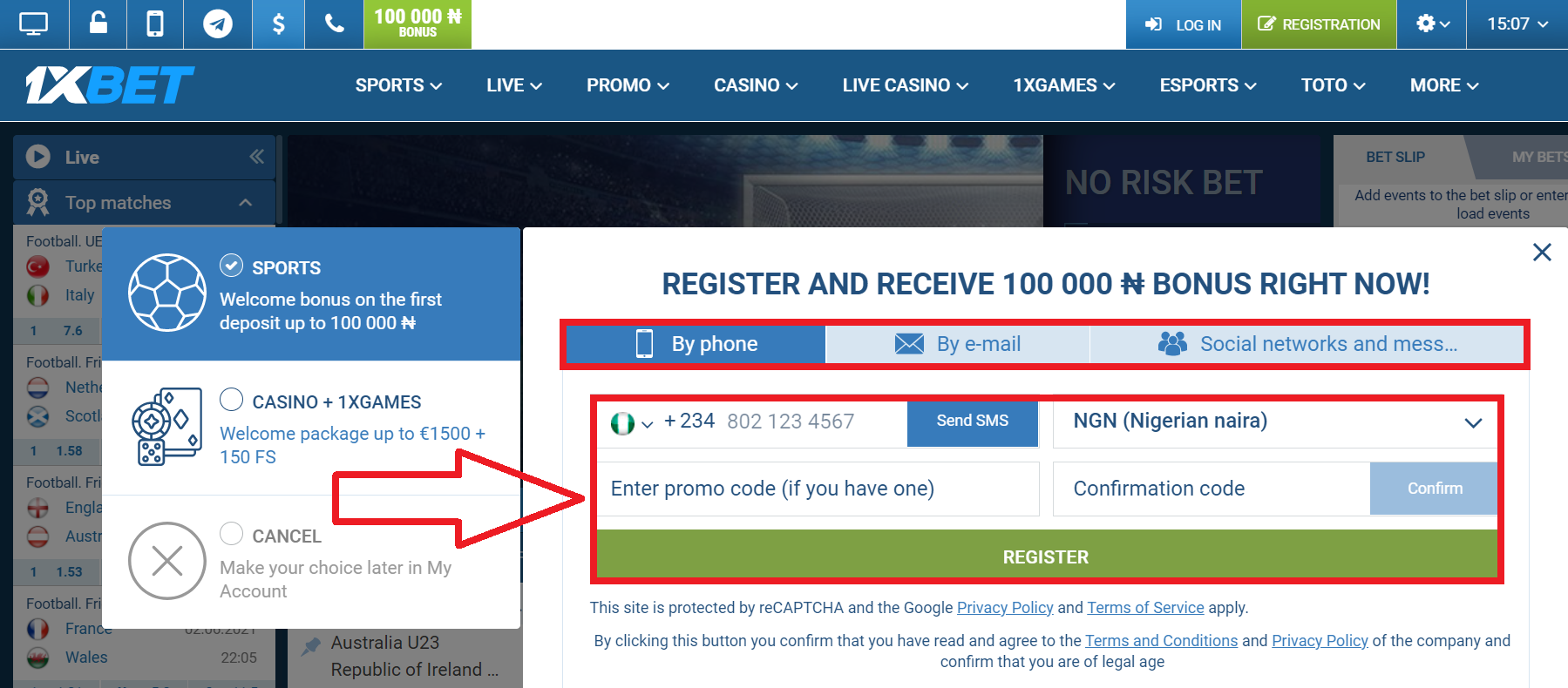 Process of account registration using 1xbet download app free