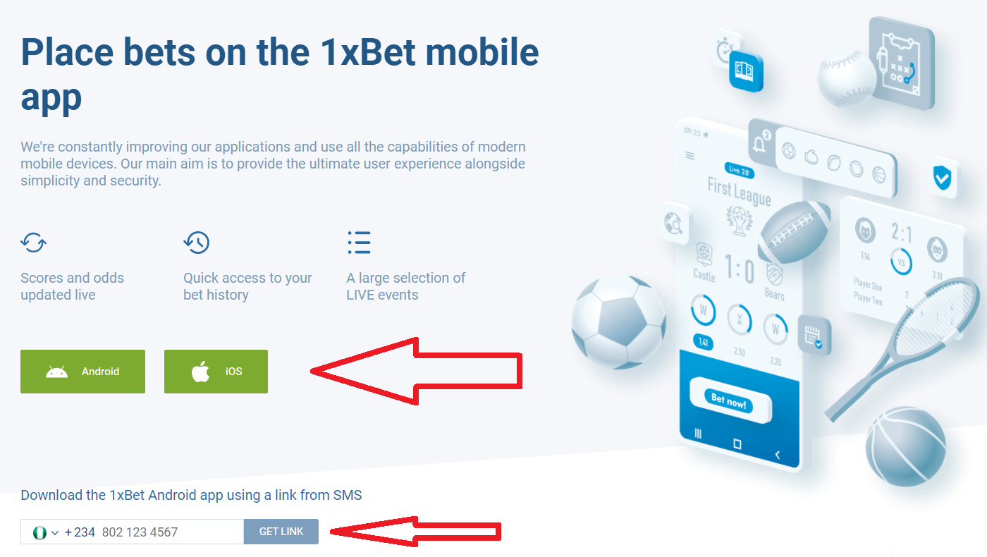 The login process with 1xBet mobile